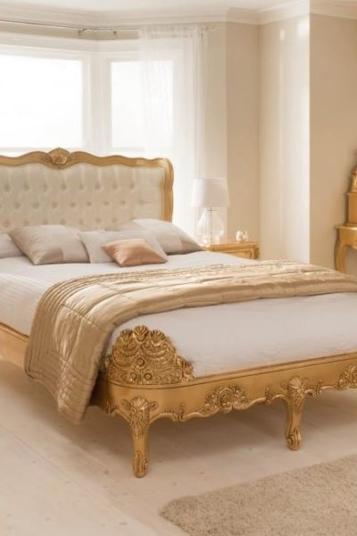 Gold shabby chic style bed by Homes Direct 365