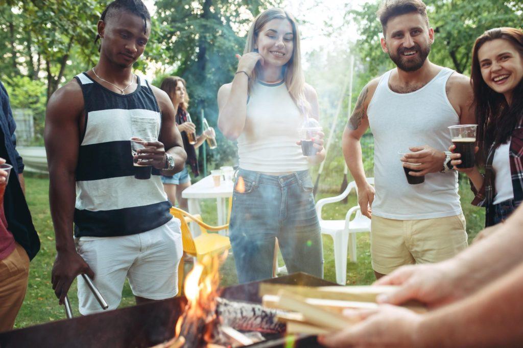 People enjoying the barbecue