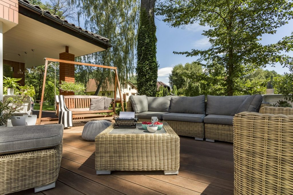 Rattan furniture on raised decking