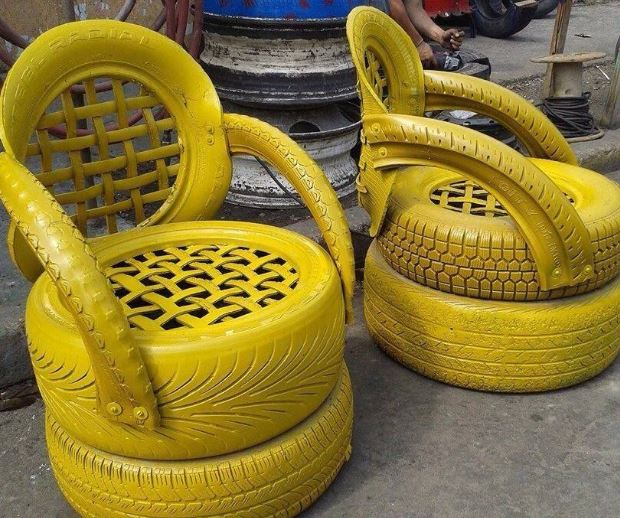 tyre chair painted yellow